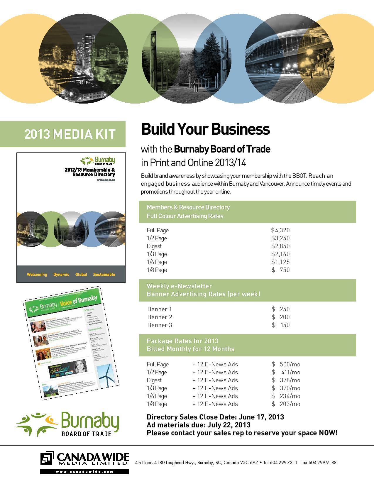 BBOT 2013/14 Media Kit & Rate Card! - Burnaby Board of Trade